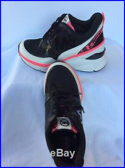Michael Kors Mickey Trainer Wedge Sneakers Shoes Black Multi Color Size 6