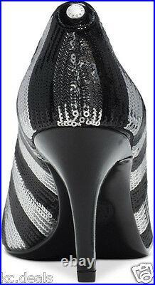Michael Kors Mk Flex MID Pump Black Silver Stripe Sequin Slip On Shoes Multisize