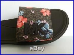 Michael Kors Mk Logo Amazing Floral Print Adjustable Slides 10 11 I Love Shoes