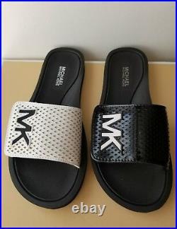 Michael Kors Mk Logo Black White Laser Perforated Patent Slides I Love Shoes