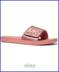 Michael Kors Mk Logo Pink Primrose Glitter Slides Sandals Us 9 10 I Love Shoes