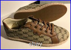 Michael Kors Monogram Signature Tennis Logo Brown Sneakers Shoes Sz 7.5M