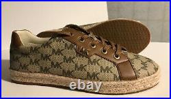 Michael Kors Monogram Signature Tennis Logo Brown Sneakers Shoes Sz 8.5M NWOT