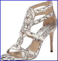 Michael Kors NEW Beige Women's 7.5M Branson Snakeskin Strappy Sandal $550 #797