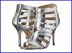 Michael Kors NEW Silver Shoes Size 7.5M Open Toe Leather Heels $426 #457 SALE