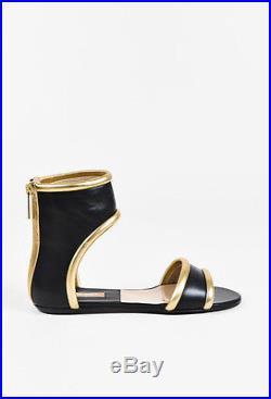 Michael Kors NWD Black & Metallic Gold Leather Open Toe Sandals SZ 38.5