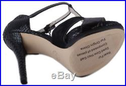 Michael Kors Nadjat-Strap Womens Black Embossed Leather T-Strap Heels size 9.5