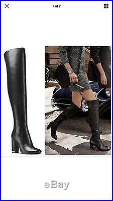 Michael Kors Over The Knee High Leather Black Tall Boots New Chain 8.5 Uk 6.5