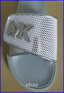 Michael Kors Palmer Silver Mk Logo White Mesh Pool Slides Us 11 I Love Shoes