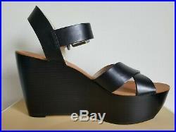 Michael Kors Peggy Iconic Gold Mk Logo Black Wedges Sandals Us 8.5 I Love Shoes