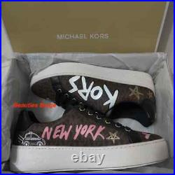 Michael Kors Poppy Lace-Up MK SIG SM/NYC Print Casual Shoes For Women Size 7.5
