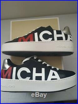 Michael Kors Poppy Lace Up Scuba Leather Trainers, Black EU 37 UK 4