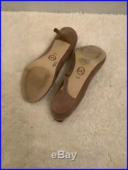 Michael Kors Pump Women Sz 7.5 M Beige Suede Round Toe HighPlatform Heel Shoe
