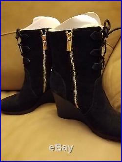 Michael Kors Rory Black Suede Ankle Boots Booties Wedge Heels Designer $195 6