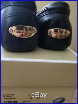 Michael Kors SZ 10M Womens Daisy Moc Leather Round Toe Loafers Black NEW