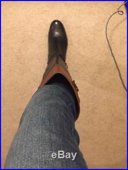 Michael Kors SZ 8M tall brown/black leather boots ladies size 8M