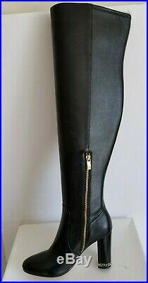 Michael Kors Sabrina Iconic Mk Gold Logo Chain Heel Tall Otk Boots I Love Shoes