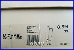 Michael Kors Sabrina Suede Iconic Mk Logo Chain Heel Tall Boots I Love Shoes