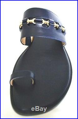 Michael Kors Sadie Embellished Flat Leather Sandal Maritime Size 8 NIB