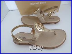 Michael Kors Sandalen Gr. 38 PALE GOLD AUBREY CHARM THONG Sandaletten Schuhe