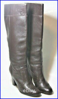 Michael Kors Shoes Brogue Knee High Pull On Boots Dark Brown Leather 8.5