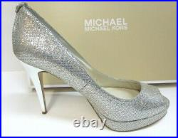 Michael Kors Size 10 Silver Glitter Heels New Womens Shoes