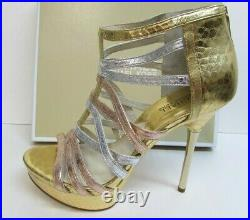 Michael Kors Size 9 Leather Strappy Gold Rose Silver Heels New Womens Shoes