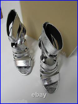 Michael Kors Size 9 Silver Leather Heels New Womens Shoes