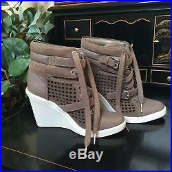 Michael Kors Skid Laser Cut Suede Wedge Sneakers Shoes Boots 6.5 MSRP $195