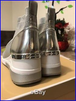 Michael Kors Skyler Knit Sock Sneaker Bootie Size 9.5 M / 39.5 Silver Glitter