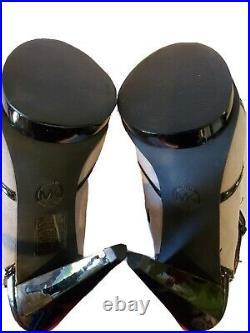 Michael Kors Sling Back Peep Toe Black Patent Tan Suede Heels Womens Shoe SZ 9
