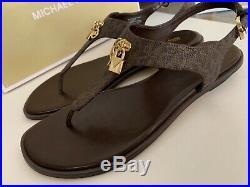 Michael Kors Suki Thong Flat Brown MK Signature Sandal withGold Charms! Sz 10