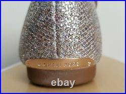 Michael Kors Sutton Glitter Champagne Shearling Slippers I Love Shoes Nr