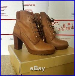Michael Kors Sz 7.5M Dk Caramel Leather Kim Lace Up Ankle Bootie