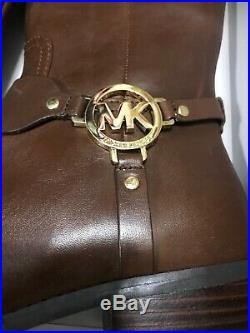 Michael Kors Tall Brown Leather Boots Womens Size 7 Riding Gold Logo