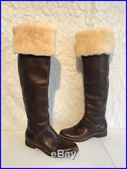 Michael Kors Tall Calf Over The Knee Brown Leather Shearling Top Boots 8 Brazil