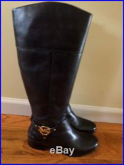 Michael Kors Tall Leather Boots Size 8 1/2 M New Black / Gold