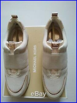 Michael Kors Teddi Slip On Small Air Mesh Trainers in Vanilla/Soft Pink, UK 8