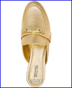 Michael Kors Tilly Gold Slip-On Loafer Flats Shoes Mules Logo Women's Size 9 NEW
