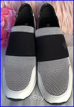 Michael Kors Trainer Mesh Sneakers Shoes Slio On Black White Womens SZ 10