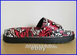Michael Kors Tyra Rare Heart Funky Graffiti Mk Logo Pool Slides Us 5 Love Shoes