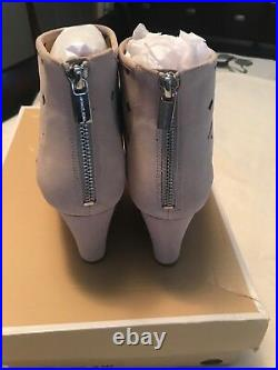 Michael Kors UMA Nude Suede Wedge Open Toed Ankle Bootie Shoe Size 9.5M