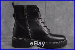Michael Kors VIVIA BLACK LEATHER ANKLE BOOTS biker zip trim punk $295 Size 7 ANB