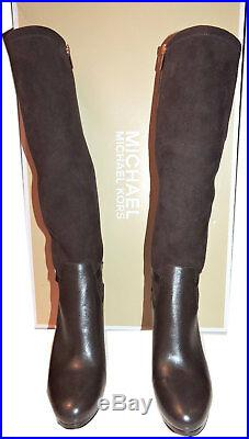 Michael Kors WOODS Tall Brown Stretch Stiletto Heel Boots Zipper Booties 8.5