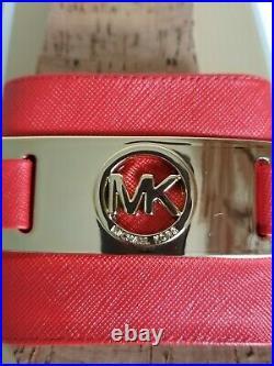 Michael Kors Warren Saffiano Gold Mk Logo Cork Perfect Clogs Slides I Love Shoes