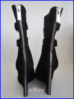 Michael Kors Wedge Double Buckle Black Suede Leather Ankle Boots Booties 7.5 M