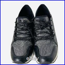 Michael Kors Wedge Sneaker Shoe Glitter Chain Mesh Black Silver Sz 8