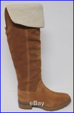 Michael Kors Whitaker Tall Boot Luggage Tan Suede Leather Knee High Zip Up