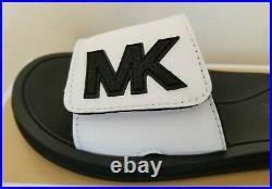 Michael Kors White Black Mk Logo Adjustable Vel Cro Pool Slides 7 I Love Shoes