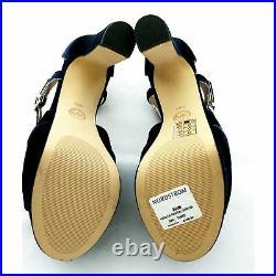 Michael Kors Womans Shoes Navy Blue Velvet Leather Size 10 M Platform 5 in Heels